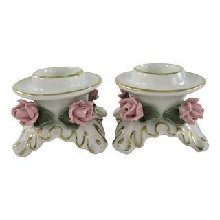 Alka Kunst Kronach Bavaria Shabby Chic Porcelain Candle Holders With Pink Roses - a Pair For Sale
