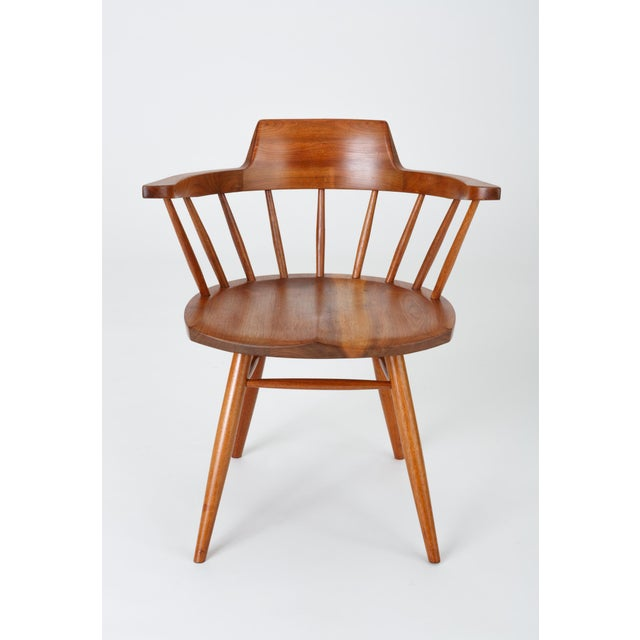 Single Black Walnut Captain's Chair by George Nakashima Studio For Sale In Los Angeles - Image 6 of 13