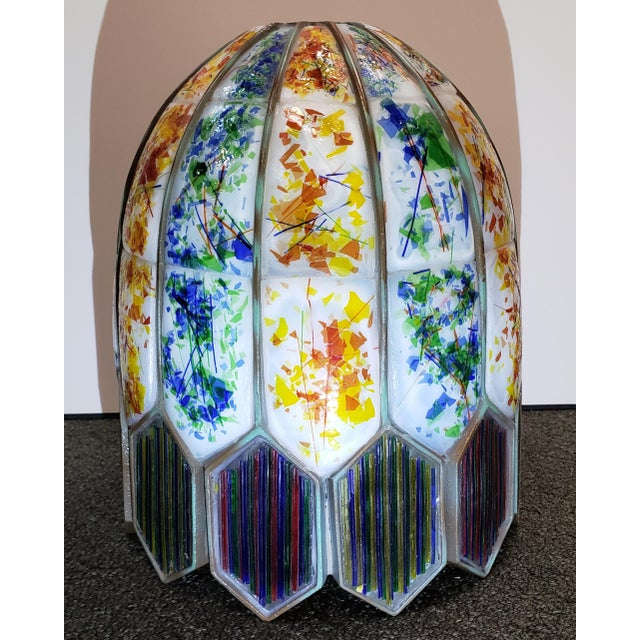 Up for sale is a Mid 20th Century American Leaded Confetti Glass Paneled Lamp Shade! The last picture on this listing is...