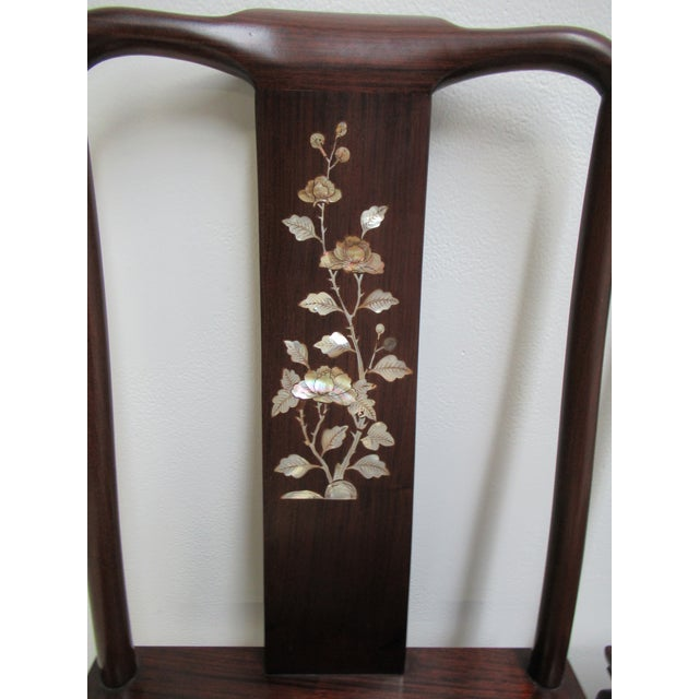 1970s Vintage Chinese Chippendale Rosewood Mother of Pearl Dining Room Chairs - A Pair For Sale - Image 11 of 12