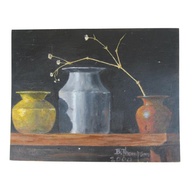 Acrylic Still Life Painting Of Three Vases Chairish