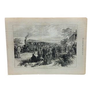 "Mid 19th C. Antique ""Opening of the First Railway in China"" Print For Sale"