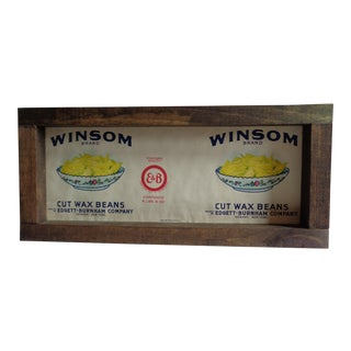 Vintage 1940s Vegetable Crate Label in Handmade Frame For Sale