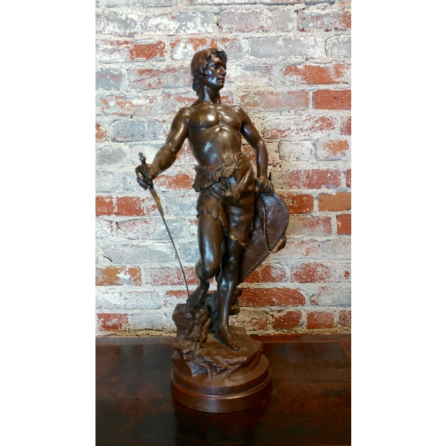 Antoine Bofill -Warrior W/Sword & Shield-19th C. French Bronze Sculpture For Sale In Los Angeles - Image 6 of 10