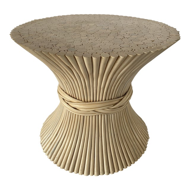 1980s Vintage Rattan Sheaf of Wheat Side Table For Sale