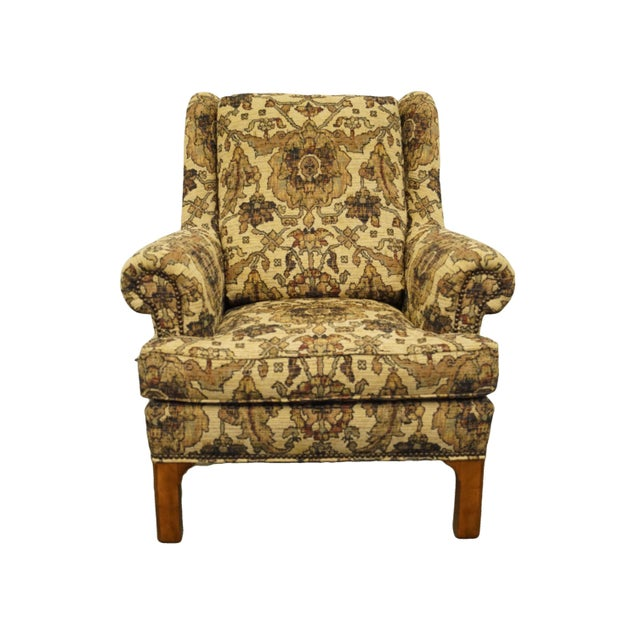 "STICKLEY FURNITURE Beige / Light Brown Floral Upholstered Wing Back Arm Chair w. Ottoman Chair: 40"" High 36"" Wide 39.5""..."