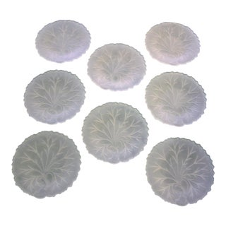 Vintage Indiana Glass Frosted Pebble Leaf Translucent Cabbage Luncheon Plates - Set of 8 For Sale