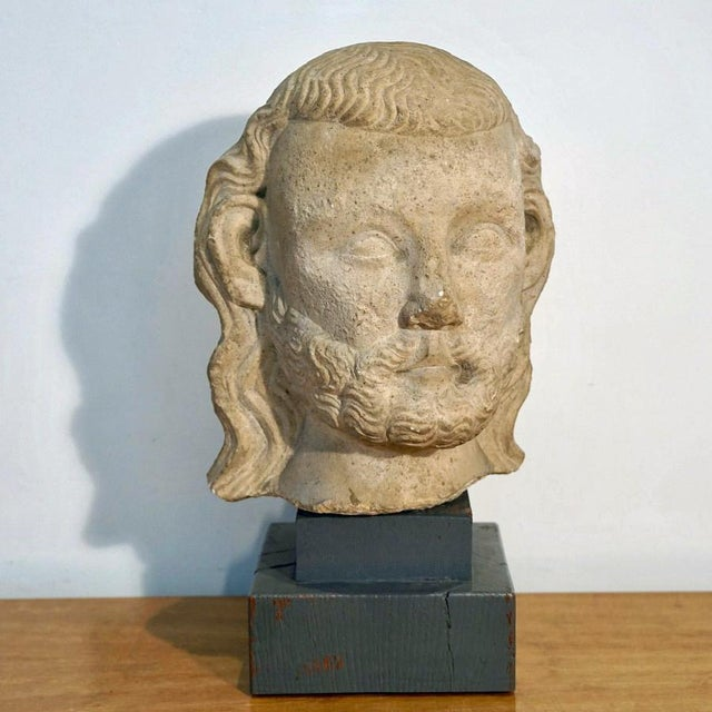 This listing is for a Medieval Limestone Bust. Limestone Bust on a Douglas Fir Stained 2 Tier Base. Artist Unknown. C.1450...