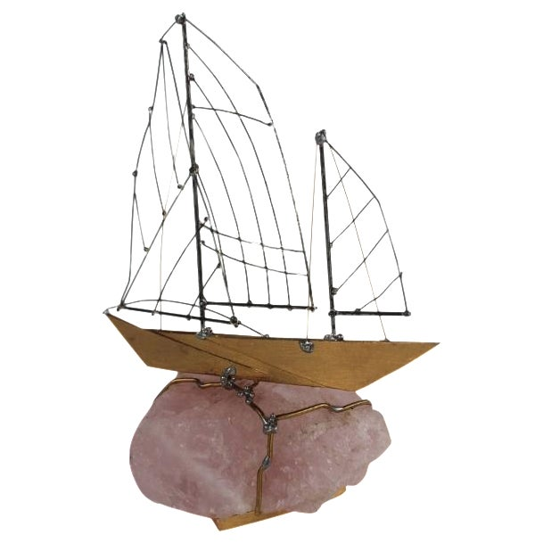 Sailing Boat on Agate Base by Crey - Image 1 of 8