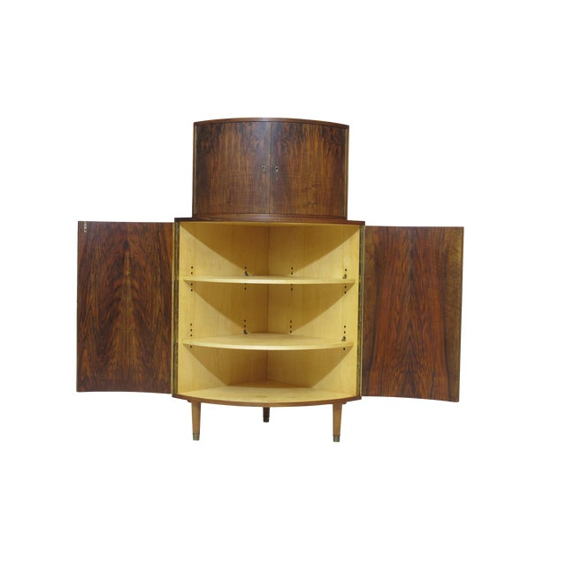 Rounded Front 1940's Corner Cabinet For Sale