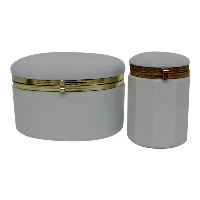 White Porcelain Canisters - A Pair For Sale