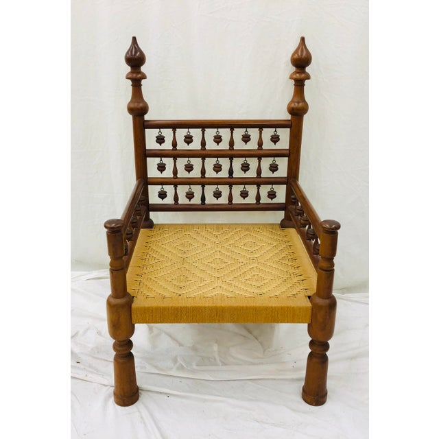 Early 20th Century Vintage Indian Arm Chair For Sale - Image 5 of 13