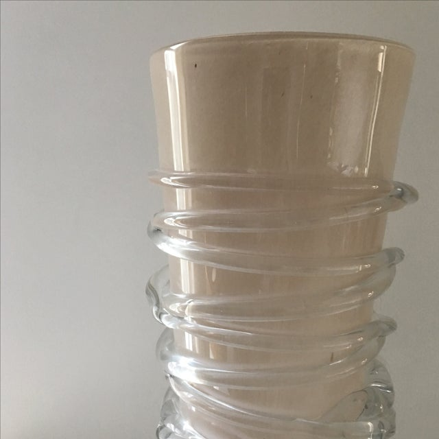 Taupe & Pink Glass Vessel - Image 3 of 5