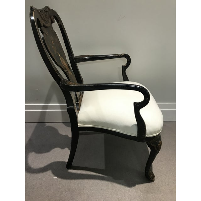Chinoiserie Antique Painted Chinoiserie Arm Chair For Sale - Image 3 of 13