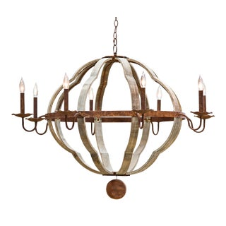Wooden Quatrefoil Chandelier For Sale