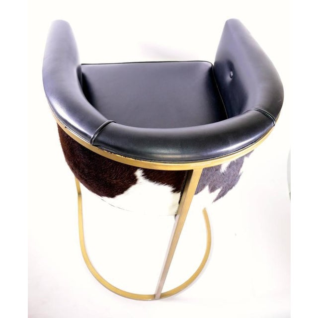 Bauhaus Modern Brass & Leather Stools - a Pair - Image 7 of 9