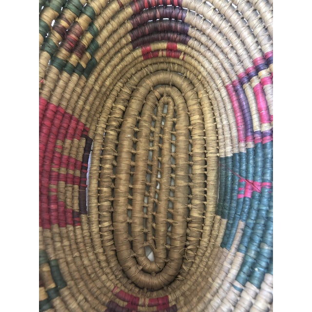 1970s Vintage Handwoven Oval Basket With Handles For Sale - Image 5 of 8