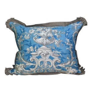 Blue Pillow Made with Antique Fabric For Sale