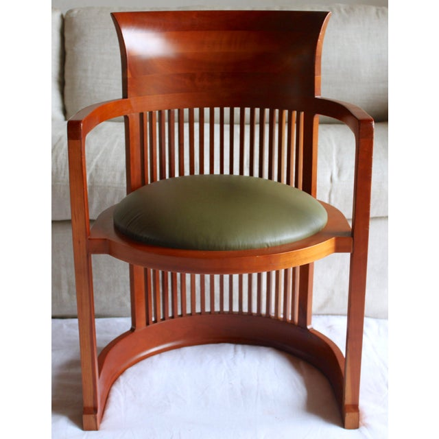 Stunning late 80s/early 90s version of the Frank Lloyd Wright 606 Taliesin Barrel chair. Solid cherry frame. These chairs...