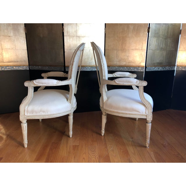 French Antique French Louis XVI Fauteuil Arm Chairs - a Pair For Sale - Image 3 of 10