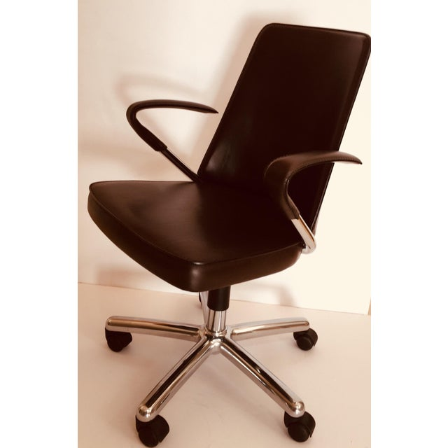 """Early 21st Century """"Luna"""" Brown Leather Office Chair by Martino Perego for Fasem For Sale - Image 5 of 13"""
