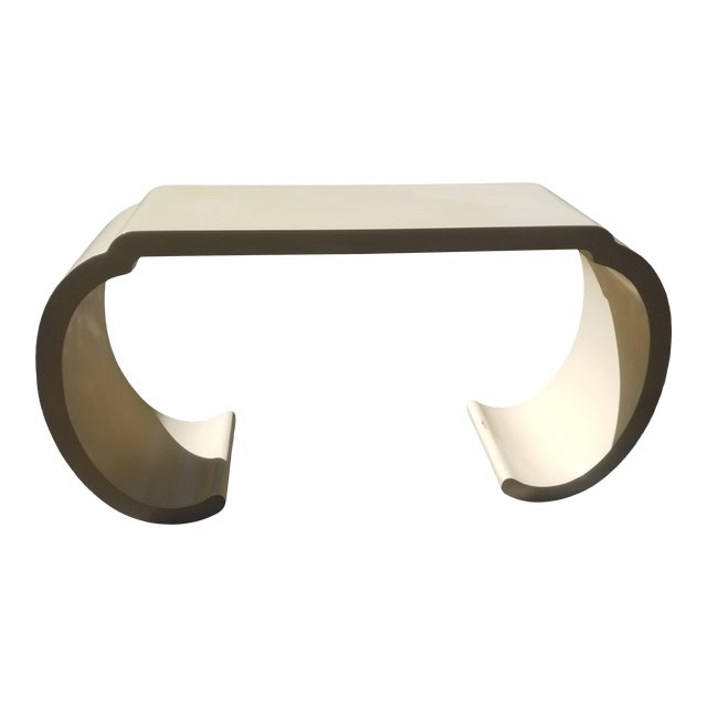1980's Scrolled Ecru Lacquer Console Table/ Style of Karl Springer For Sale