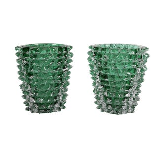 Murano Green Iridescent Glass Vases Signed Pino Signoretto - a Pair For Sale