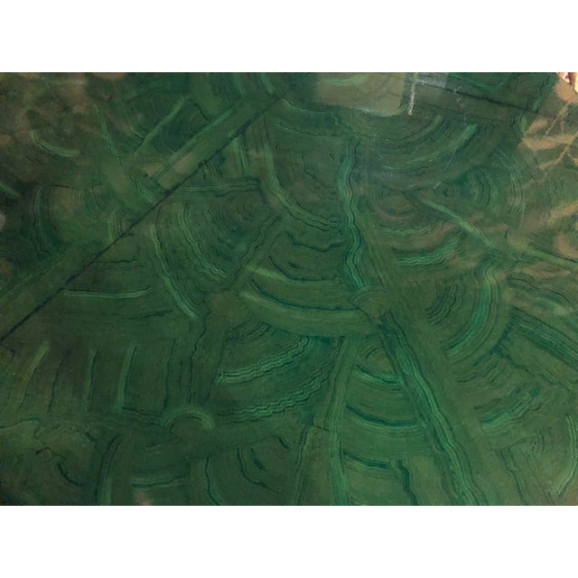 Vintage Hollywood Regency Faux Malachite Chrome Game Dining Table For Sale - Image 12 of 13