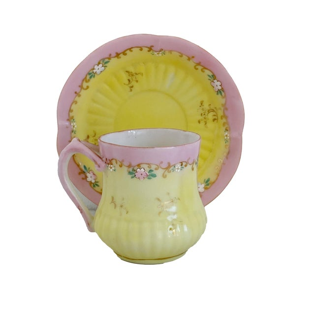 "Antique demitasse tea cup and saucer pink and yellow with gilt. Saucer 4.5"" Diameter x .75"" High Cup 3"" Wide x 2.5"" Deep x..."
