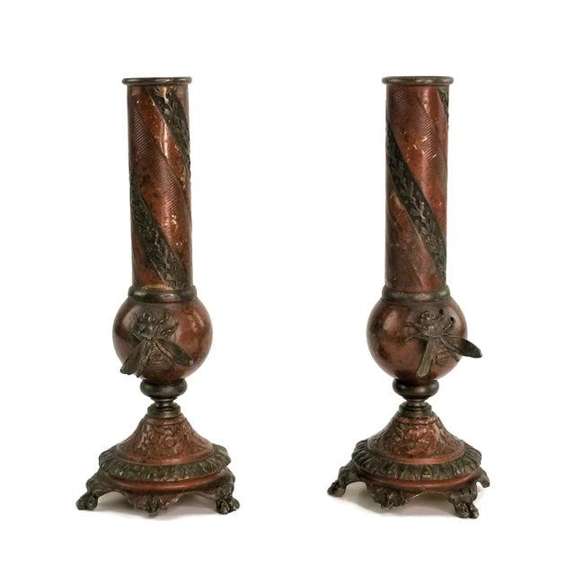 Pair of French Champlevé Bud Vases - Enamel Gilt Bronze Brass Bud Vases For Sale - Image 13 of 13