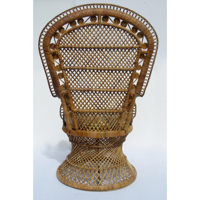 1970s Final Markdown: C1970s Vintage Bohemian Eclectic Boho Chic Rattan Raw Wicker Peacock Chair For Sale - Image 5 of 13