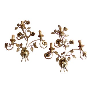 1960s French Mid Century Gilt Metal Floral Design Wall Sconces Style Bagues - a Pair For Sale