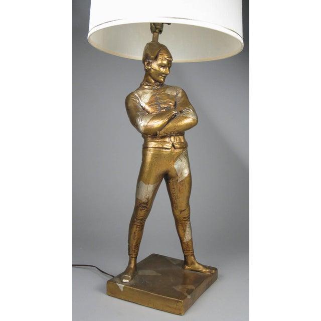 Folk Art Vintage 1960s Harlequin Jester Lamp in Gold and Silver Leaf For Sale - Image 3 of 7