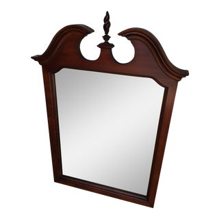 Pennsylvania House Solid Cherry Chippendale Style Flame Finial Mirror For Sale