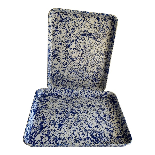 Splatterware Enamel Metal Trays -Set of Two For Sale