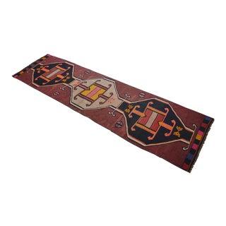 Caucassian Handmade Kilim Runner Rug Full Tribal Design Hallway Decor - 3′2″ × 11′11″ For Sale