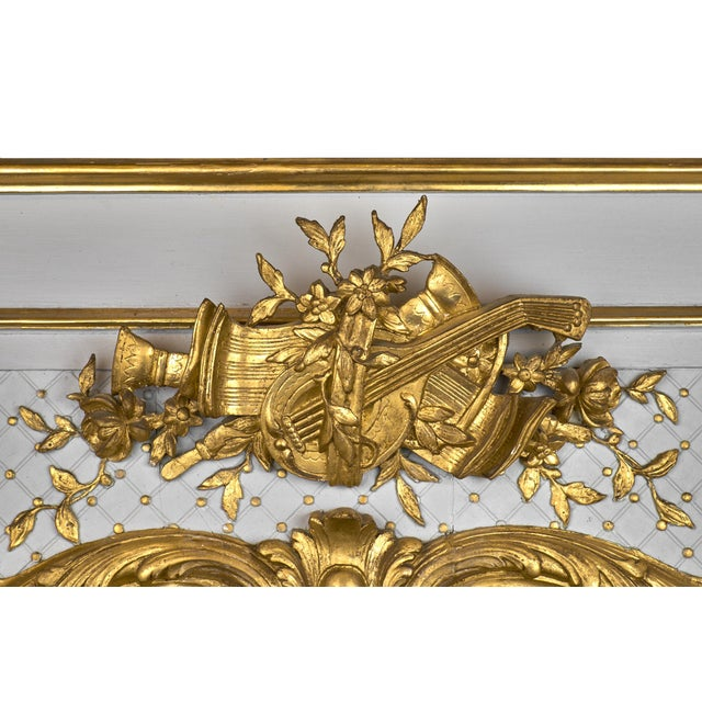 19th Century Louis XVI Gold Leaf Trumeau Mirror For Sale - Image 5 of 9