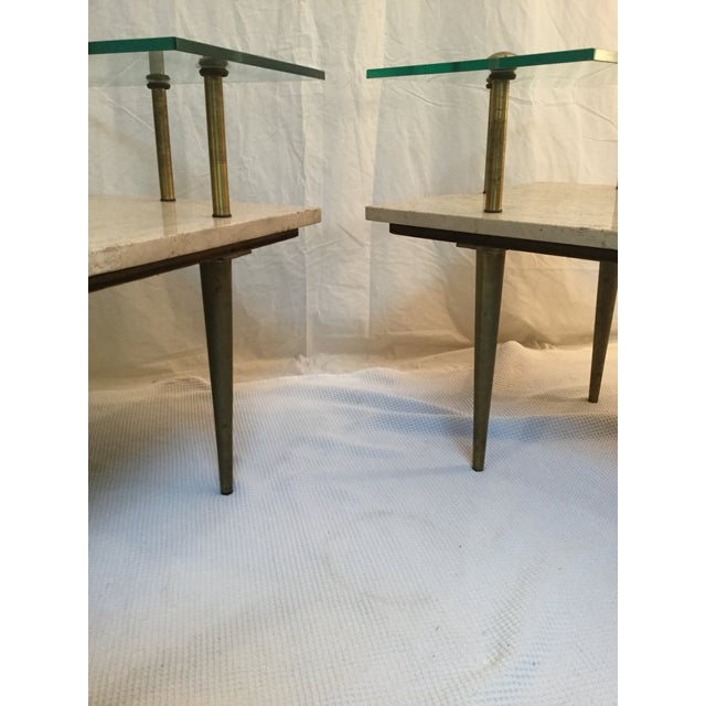 1950's Two Tear Travertine Side Tables - Pair - Image 7 of 11