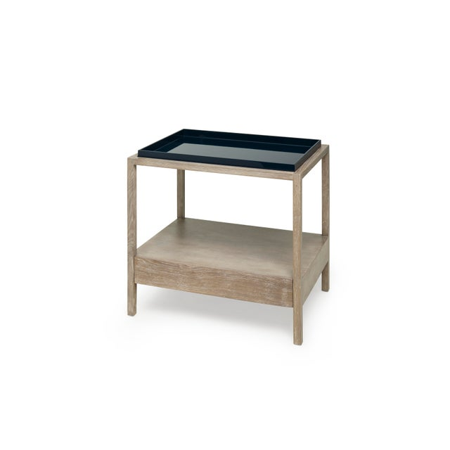 Not Yet Made - Made To Order Fitzgerald Nightstand in Midnight Blue / Cerused Oak - Rita Konig for The Lacquer Company For Sale - Image 5 of 5