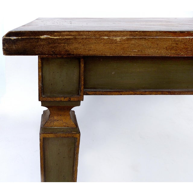 Faux Painted Writing Library Table With Green and Gilt Tapering Legs For Sale - Image 4 of 9