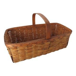 Large Antique Reed & Oak Splint Fruit & Vegetable Carry Basket For Sale