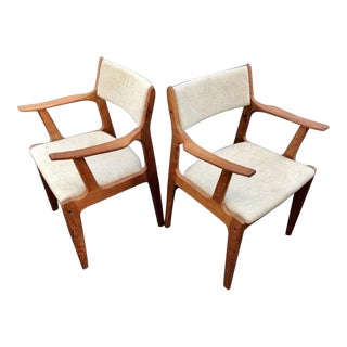 1960s Mid-Century Modern White Wool Upholstered Teak Armchairs - a Pair For Sale