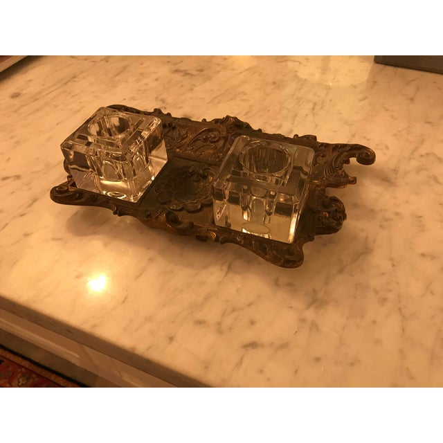This is a beautifully made, antique, gold gilt, cast iron double inkwell. It has its original glass inkwells, that fit...