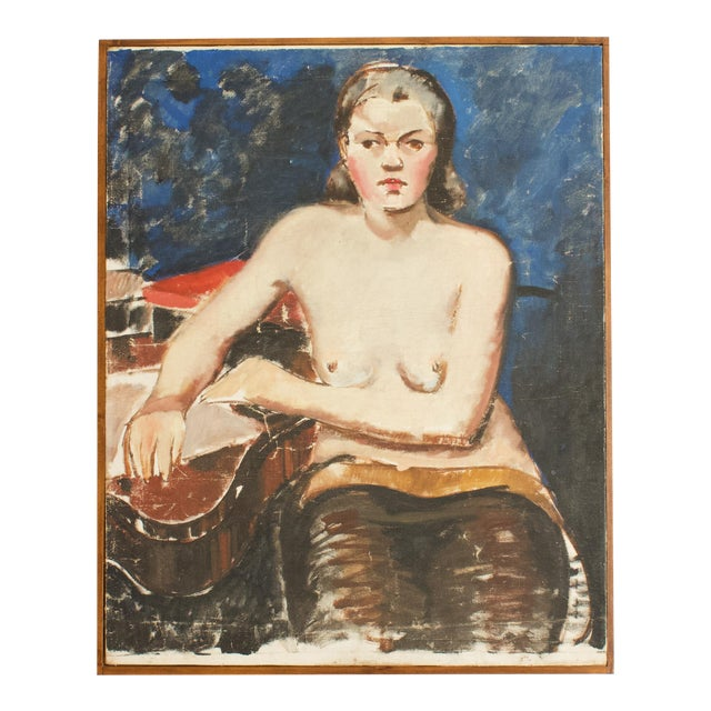 1930s French Seated Nude Painting, Framed For Sale