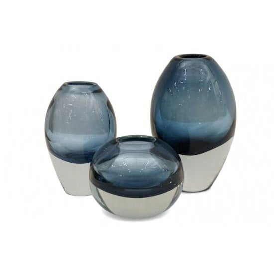 Contemporary Molded Blue Glass Vases - Set of 3 For Sale - Image 3 of 3