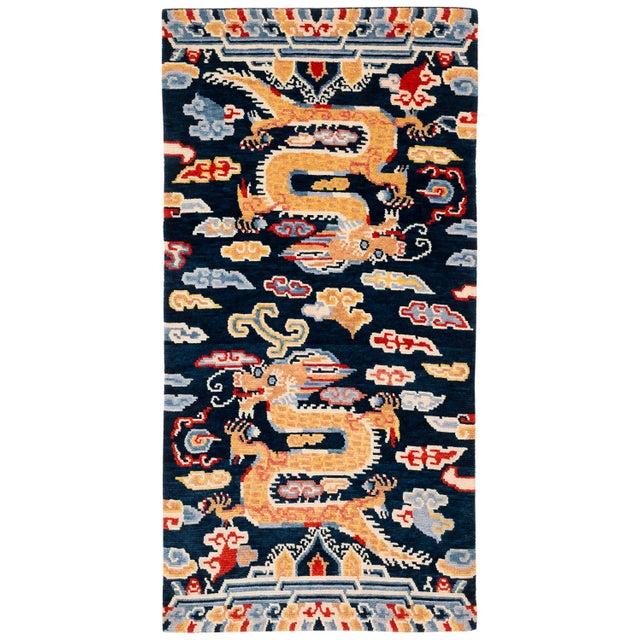 Blue Indigo Blue, Red, Green, Orange Wool Tibetan Double Dragon Area Rug For Sale - Image 8 of 8