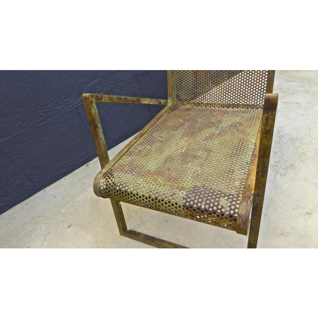 Metal Jean Royere Early Rarest Documented Perforated Iron Lounge Chair For Sale - Image 7 of 12