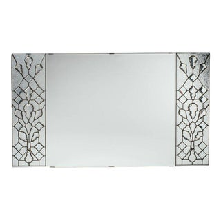 Opulent 1940s Hollywood Regency Mirror with Large Cut Crystals