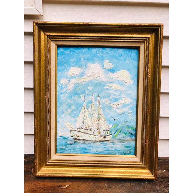 Vintage Sailboat Ocean 3d Art Painting Signed in Antique Gold Frame For Sale - Image 13 of 13
