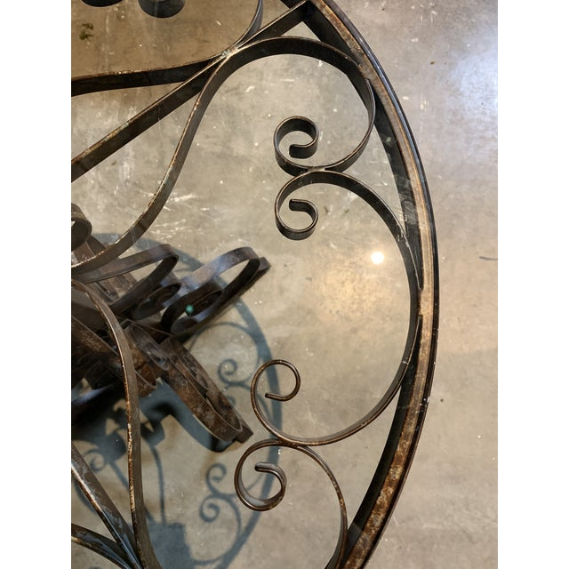 Black Iron Bistro Table with Glass Top For Sale - Image 4 of 5